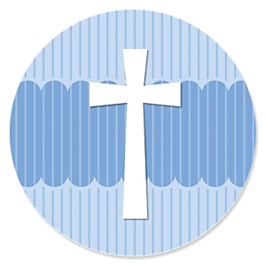 Delicate Blue Cross - Baptism Theme
