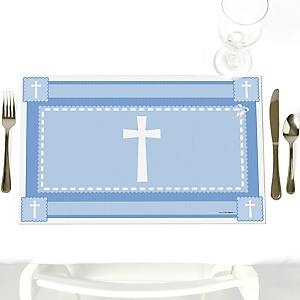 Delicate Blue Cross - Party Table Decorations - Baptism Placemats - Set of 12
