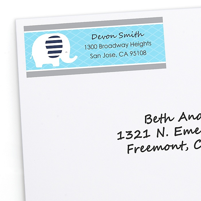 Blue Elephant - Personalized Boy Baby Shower or Birthday Party Return Address Labels - 30 ct