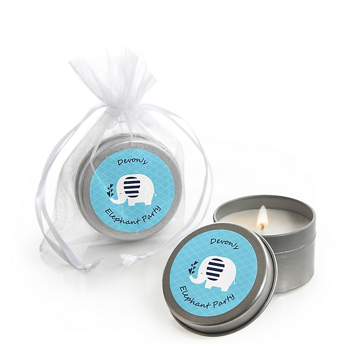 Blue Elephant - Personalized Boy Baby Shower or Birthday Party Candle Tin Favors - Set of 12