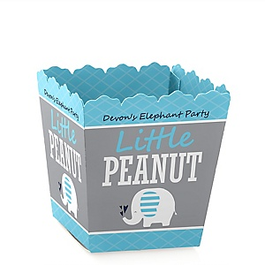 Blue Elephant - Party Mini Favor Boxes - Personalized Boy Baby Shower or Birthday Party Treat Candy Boxes - Set of 12