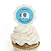 Blue Baby Elephant - 12 Cupcake Picks & 24 Personalized Stickers - Baby Shower Cupcake Toppers