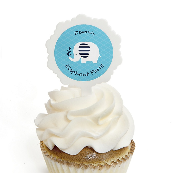 Blue Elephant - Cupcake Picks with Personalized Stickers - Boy Baby Shower or Birthday Party Cupcake Toppers - 12 ct
