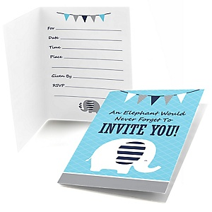 Blue Elephant - Fill In Boy Baby Shower or Birthday Party Invitations - 8 ct