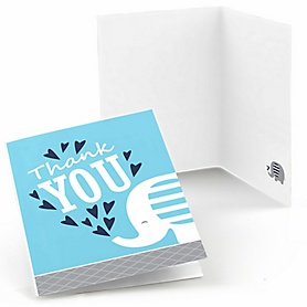 Blue Elephant - Boy Baby Shower or Birthday Party Thank You Cards - 8 ct