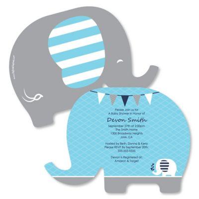 Blue Elephant Shaped Boy Baby Shower Invitations