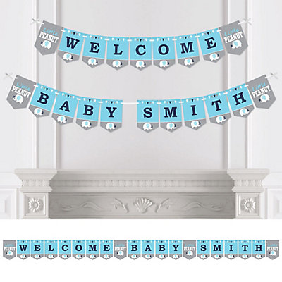 Blue Elephant Personalized Boy Baby Shower Bunting Banner