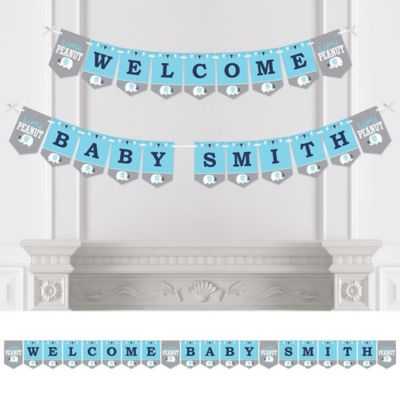 Blue Elephant   Personalized Boy Baby Shower Bunting Banner U0026 Decorations