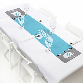 "Blue Elephant - Personalized Petite Boy Baby Shower or Birthday Party Paper Table Runner - 12"" x 60"""