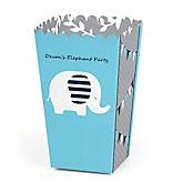 Blue Elephant - Personalized Party Popcorn Favor Treat Boxes