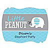 Blue Baby Elephant - Personalized Baby Shower Squiggle Stickers - 16 ct