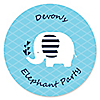 Blue Baby Elephant - Personalized Baby Shower Sticker Labels - 24 ct