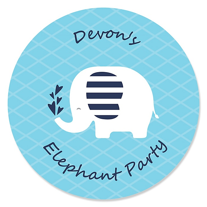 Blue Elephant - Personalized Boy Baby Shower or Birthday Party Sticker Labels - 24 ct