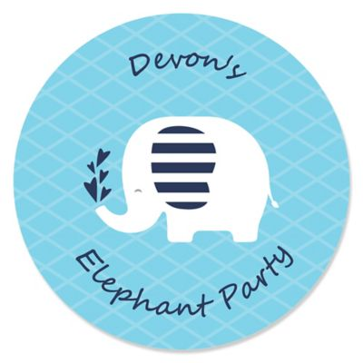 Blue Elephant   Personalized Boy Baby Shower Or Birthday Party Sticker  Labels   24 Ct