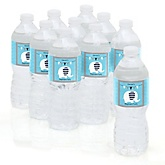 Blue Elephant - Personalized Party Water Bottle Sticker Labels - Set of 10
