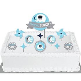 Blue Elephant - Boy Birthday Party Cake Decorating Kit - Happy Birthday Cake Topper Set - 11 Pieces
