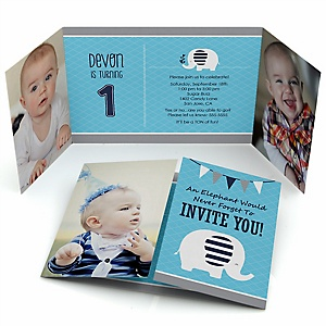 Blue Elephant - Personalized Boy Birthday Party Photo Invitations - Set of 12