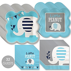 Blue Elephant - Boy Baby Shower or Birthday Party Tableware Plates and Napkins - Bundle for 32