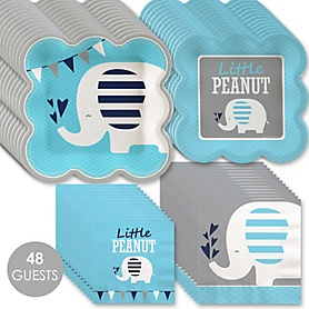 Blue Elephant - Boy Baby Shower or Birthday Party Tableware Plates and Napkins - Bundle for 48