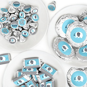 Blue Elephant - Mini Candy Bar Wrappers, Round Candy Stickers and Circle Stickers - Boy Baby Shower or Birthday Party Candy Favor Sticker Kit - 304 Pieces
