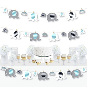 Blue Elephant - Boy Baby Shower or Birthday Party DIY Decorations - Clothespin Garland Banner - 44 Pieces
