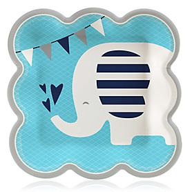 Blue Elephant - Boy Baby Shower or Birthday Party Luncheon Napkins (16 Count)