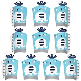 Blue Elephant - Table Decorations - Boy Baby Shower or Birthday Party Fold and Flare Centerpieces - 10 Count