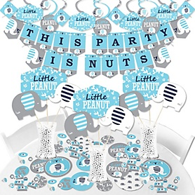 Blue Elephant - Boy Baby Shower or Birthday Party Supplies - Banner Decoration Kit - Fundle Bundle