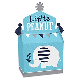 Blue Elephant - Treat Box Party Favors - Boy Baby Shower or Birthday Party Goodie Gable Boxes - Set of 12