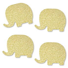 Gold Glitter Elephant - No-Mess Real Gold Glitter Cut-Outs - Baby Shower or Birthday Party Confetti - Set of 24