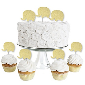 Gold Glitter Elephant - No-Mess Real Gold Glitter Dessert Cupcake Toppers - Baby Shower or Birthday Party Clear Treat Picks - Set of 24