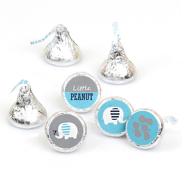 Blue Elephant - Boy Baby Shower or Birthday Party Round Candy Sticker Favors - Labels Fit Hershey's Kisses  - 108 ct