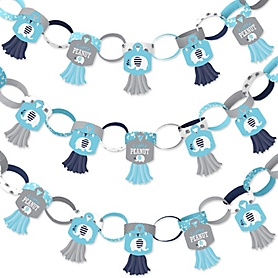 Blue Elephant - 90 Chain Links and 30 Paper Tassels Decoration Kit - Boy Baby Shower or Birthday Party Paper Chains Garland - 21 feet