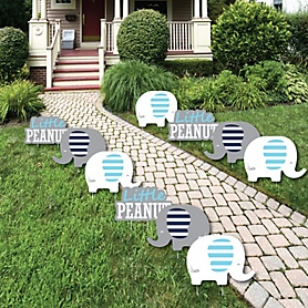 Blue Elephant - Lawn Decorations - Outdoor Boy Baby Shower or Birthday Party Yard Decorations - 10 Piece