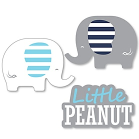 Blue Elephant - DIY Shaped Boy Baby Shower or Birthday Party Cut-Outs - 24 ct