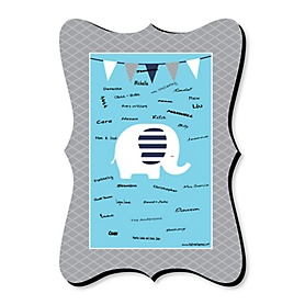Blue Elephant - Unique Alternative Guest Book - Boy Baby Shower or Birthday Party Signature Mat