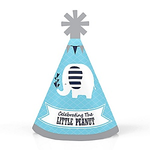 Blue Elephant - Personalized Mini Cone Boy Baby Shower or Birthday Party Hats - Small Little Party Hats - Set of 10