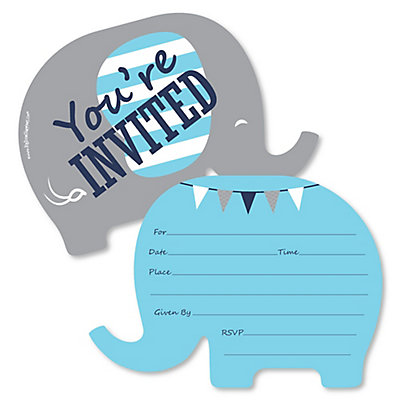 blue elephant shaped fill in invitations boy baby shower or
