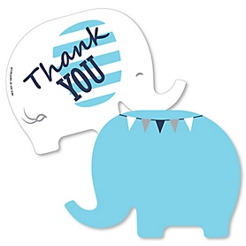 Blue Elephant - Shaped Thank You Cards - Boy Baby Shower or Birthday Party Thank You Note Cards with Envelopes - Set of 12