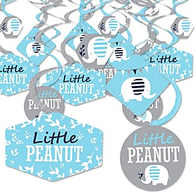 Blue Elephant - Boy Baby Shower or Birthday Party Hanging Decor - Party Decoration Swirls - Set of 40