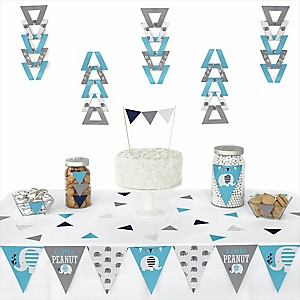 Blue Elephant -  Triangle Boy Baby Shower or Birthday Party Decoration Kit - 72 Piece