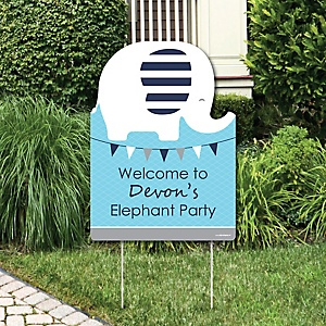 Blue Elephant - Party Decorations - Boy Baby Shower or Birthday Party Personalized Welcome Yard Sign