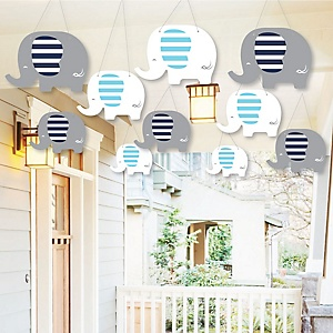 Hanging Blue Elephant Outdoor Boy Baby Shower Or Birthday Party Porch Tree Yard Decorations 10 Pieces