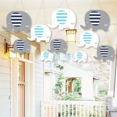 Hanging Blue Elephant   Outdoor Boy Baby Shower Or Birthday Party Hanging  Porch U0026 Tree Yard Decorations   10 Pieces