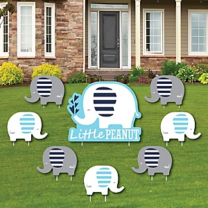 Blue Elephant - Yard Sign & Outdoor Lawn Decorations - Boy Baby Shower or Birthday Party Yard Signs - Set of 8