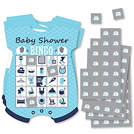 Blue Elephant - Picture Bingo Cards and Markers - Baby Shower Shaped Bingo Game - Set of 18