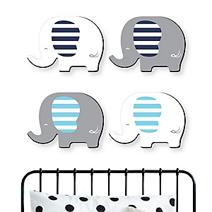 Blue Elephant - Baby Boy Nursery and Kids Room Home Decorations - Shaped Wall Art - 4 Piece