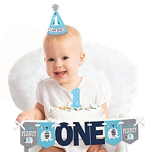Blue Elephant 1st Birthday - First Birthday Boy Smash Cake Decorating Kit - High Chair Decorations