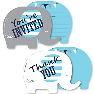 Blue Elephant - 20 Shaped Fill-In Invitations and 20 Shaped Thank You Cards Kit - Boy Baby Shower or Birthday Party Stationery Kit - 40 Pack