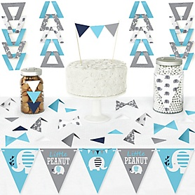 Blue Elephant - DIY Pennant Banner Decorations - Boy Baby Shower or Birthday Party Triangle Kit - 99 Pieces